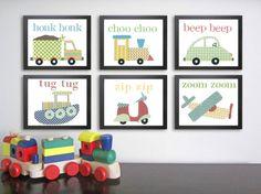 Transportation Nursery Art, Baby Boy Nursery Decor, 8x10 prints