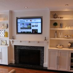 Family Room Fireplace TV Built In Shelving