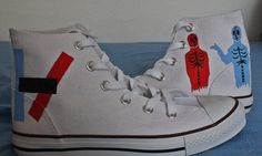Twenty One Pilots Shoes by ShadowMoses on Etsy, €35.00 (OH MY GOD! I WANT THOSE SO BAD! IT LITERALLY HURTS THAT I DON'T HAVE THESE! :'(