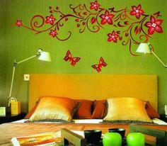 New Design Red Flowers Butterflies Removable Wall Decor Decal Vinyl Wall Sticker