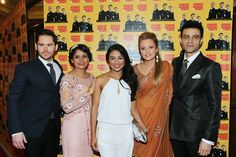 The leading ladies Goldy Notay and Laura Aikman wore Khubsoorat with the leading men Martin Delaney and Rez Kempton wearing bespoke tailored suit by Saran Kohli for the independent British feature film Amar, Akbar & Tony
