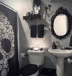 Goth decor on perfection repost lifeafterdeathdesigns after a rough morning i decided to cut out early and redecorate our guest bathroom amazing home gothic decor design ideas to create unique home Dark Home Decor, Goth Home Decor, Gothic Room, Gothic House, Gothic Living Rooms, Gothic Bathroom Decor, Bathroom Goals, Bathroom Ideas, Bathroom Things