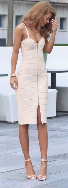 Kimmy Dress - My Bandage Dress | Nude Strappy Heels - Zara