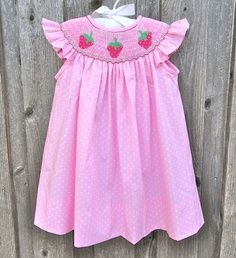 Smocked Strawberry Dress from Smocked Auctions Strawberry Dress, Strawberry Garden, Mississippi Delta, Sweet Caroline, Spice Girls, Smocking, Boy Or Girl, Auction, Daughter