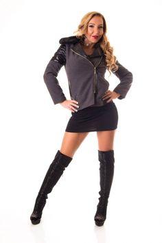 Szőrme galléros műbőr vállú női kabát