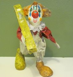 """Paper / Papier Mache Circus Clown with Banjo Signed Mexico 10"""" Handpainted"""