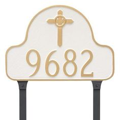 Montague Metal Products Arch with Celtic Cross Address Plaque Finish: White/Silver