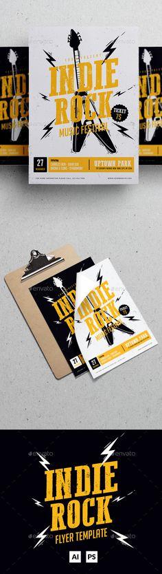 Indie Rock Music Festival Flyer Template PSD, AI Illustrator