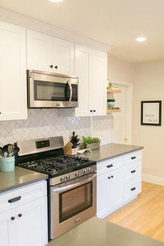 Designed by Simon Projects :: Altadena Project Phase I :: Classic kitchen with modern flair :: White Backsplash With Dark Cabinets, Grey Backsplash, Herringbone Backsplash, Kitchen Backsplash, Kitchen Countertops, White Cabinets, Oak Cabinets, Rustic Backsplash, Hexagon Backsplash