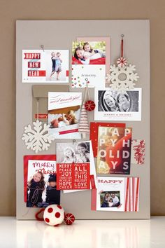 Beautiful holiday card display... such pretty felt ornaments from West Elm and cards from Minted.