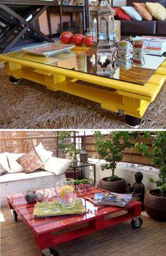 pallets de madeira como mesa central, com um toque de vidro ou espelho, e uma pintura colorida, fazendo toda a diferença. E o melhor ainda, reutilizando e gastando pouco.