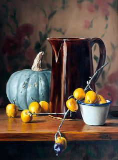 Julie Y Baker Albright-Vermont Fine Artist JYBA Realism Art Oil Paintings Still Life Landscape- NewEngland Oil painting Still Life Drawing, Painting Still Life, Still Life Photography, Fine Art Photography, Hyper Realistic Paintings, Still Life Fruit, Clock Art, Fruit Painting, Fruit Art