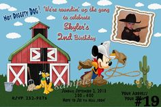 Mickey Mouse Invitation Western Cowboy with by LetsPartyShoppe, $10.95