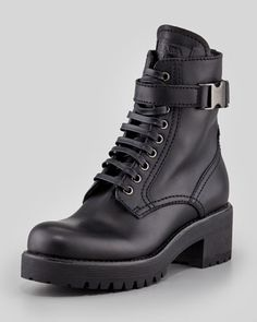 Soft Calf Lace-Up Combat Boot, Black by Prada Linea Rossa at Neiman Marcus.