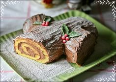 buche de noel - Christmas yule log with nutella cream cheese frosting