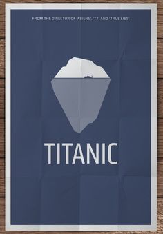 Minimalist Film Posters by Pedro Vidotto of the great film Titanic. This is a really impressive and very simplistic illustration of two effects in one illustration, this is really well done by making the main illustration of an ice burg which is how the Titanic fell then is side of that ice burg is the Titanic itself sitting of the sea towards its death.