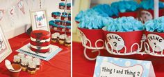 Thing One and Thing Two TWINS baby shower (Dr. Seuss)