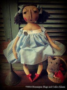 Primitive Wizard of Oz Dorothy Doll Toto OOAK Homespun Hugs and Calico Kisses
