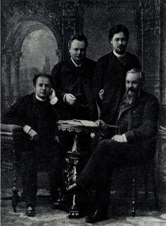 П. М. Свободин, В. Н. Давыдов, А. П. Чехов и А. С. Суворин. Фотография. 1889