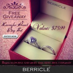 New free giveaway is here! This beautiful heart ring set is perfect for your Valentine's Day! Enter now for your chance to win.   Like, Comment or Share the post now! May you be the lucky winner!!  Enter here: http://blog.berricle.com/heart-ring-set-giveaway/?utm_source=pinterest_medium=banner_content=r608enter_campaign=giveaway