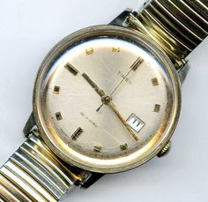 Vtg 1960 Timex Self Wind 46560 Date Gold Tone Mens Watch Not Running #Timex #Casual