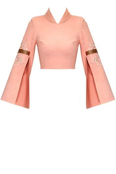 Pink embroidered double sleeves crop top available only at Pernia's Pop-Up Shop. Salwar Designs, Lehenga Designs, Saree Blouse Designs, Blouse Styles, Latest Designer Sarees, Designer Dresses, Salwar Kameez, Look Short, Indian Fashion Dresses