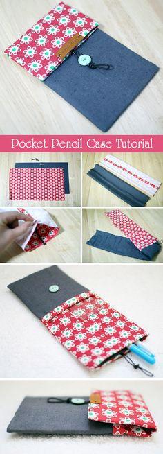 Double Pencil Case Coin Pouch Purse. Step-by-Step DIY Tutorial with Photos. http://www.handmadiya.com/2015/11/double-pocket-pencil-case-tutorial.html