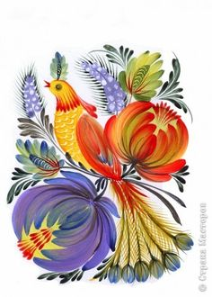 Ukrainian Petrkivka folk art, петриківський розпис. Харченко Елена Запорожье