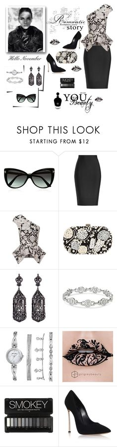 """Hello November Contest"" by exoduss ❤ liked on Polyvore featuring Tom Ford, Roland Mouret, Santi, Amrapali, Anne Klein, Casadei, EB Florals, blackandwhitefashion and HelloNovember"