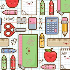 Back to school fabric by woodmouse #Pattern | Typography ...