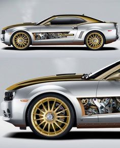 """The retro-futuristic Chevy Camaro, aka the """"Steampunk Kamaro"""", is a graphic rendering by artist John """"Jazz"""" Vernon. I would not mind rebuilding a Camaro this way at all. Jaguar, Bugatti, Car Mods, Audi, Sweet Cars, Automobile Industry, Us Cars, Chevrolet Camaro, Camaro Car"""