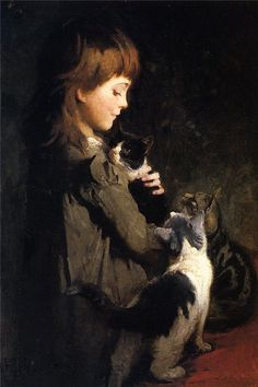 Abbott Handerson Thayer - The Favorite Kitten fine art preproduction . Explore our collection of Abbott Handerson Thayer fine art prints, giclees, posters and hand crafted canvas products She And Her Cat, Munier, Amor Animal, Art Ancien, Photo Chat, Vintage Cat, Pretty Cats, American Artists, I Love Cats