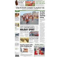 The front page of the Taunton Daily Gazette for Monday, Dec. 8, 2014.