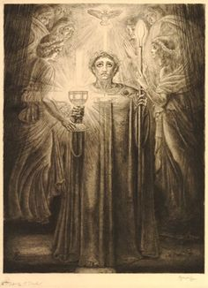 Titurel standing whole-length facing front, dressed in long robe and laurel wreath, receiving the Grail with his left hand and holding a flaming pike on his right; helmet, shield, sword and palm on the floor; Holy Ghost above, angels praying behind; illustration to Wagner's 'Parsifal'; fourth state, before letters. 1895 Etching and drypoint, with surface tone