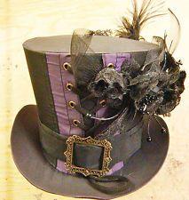 Steampunk madhatter handmade TAFETA Violet / Noir Tophat avec des fleurs et couronne