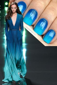 Pretty ombre blue mani (Elie Saab Spring 2015, Manicure Muse)