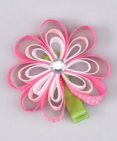 ribbon art hair clips | Art Take a look at this Pink Sparkle Ribbon Flower Clip