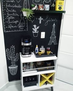Most Popular small home bar corner ideas Coffee Bars In Kitchen, Coffee Bar Home, Home Coffee Stations, Coffee Area, Coffee Corner, Cafe Bar, Small Bars For Home, Family Bar, Opening A Coffee Shop
