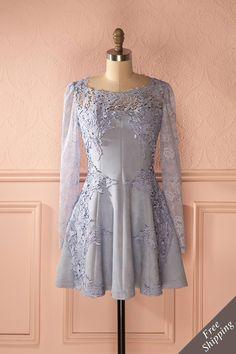 Le bleu le plus clair habille parfois les femmes les plus audacieuses.  The lightest blue sometimes dresses the boldest women. Valiane - Baby blue faux-suede dress www.1861.ca