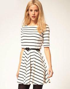 White Black Striped Half Sleeve Ruffle Dress - Sheinside.com