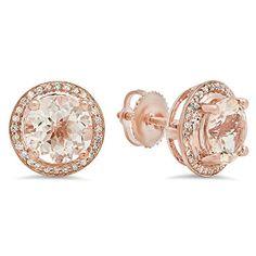 Amazon.com: Stud Earrings Solid 14 karat Gold post Swarovski Pure Brilliance CZ 1.5ct to 4ct: Jewelry