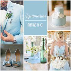 Aquamarine wedding ideas, pale blue wedding and light blue wedding inspiration.
