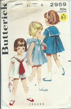 B 2959 sewing pattern little girl's SAILOR DRESS sew DARLING vintage 60's size 2 | eBay