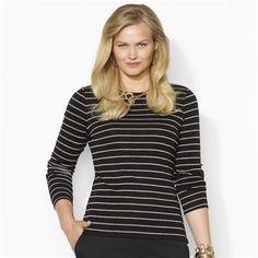 Lauren Ralph Lauren Plus Size Long-Sleeved Cotton Crew Neck