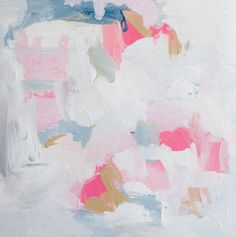 Pink and Blue abstract art print 8x8 and 10x10 by lisamathewsonart, $35.00
