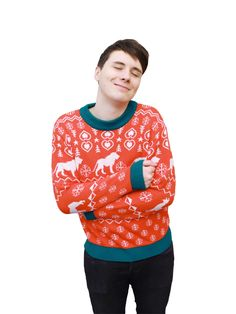 **Ships 7th December** You want a proper Christmas Jumper to celebrate the season? Well here is a fully knitted jumper with a red and green Dan and Phil design!
