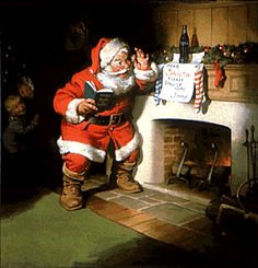 A 1963 Coca Cola ad - a note for Santa at the fireplace invites him to pause and have a Coke, while two little ones watch from the shadows    (from 1931 to 1964, the Santa ads were painted by Haddon Sundblom)