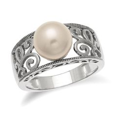 9.0mm Cultured Freshwater Pearl Scroll Band in Sterling Silver - Size 7 - Zales