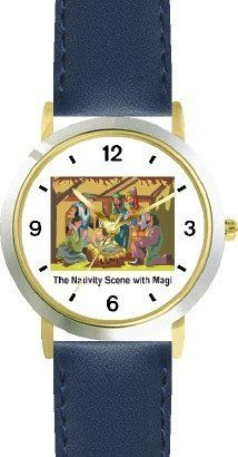 The Nativity Scene with the Magi (Three Wise Men) - Christian Theme - WATCHBUDDY® DELUXE TWO-TONE THEME WATCH - Arabic Numbers - Blue Leather Strap-Children's Size-Small ( Boy's Size & Girl's Size ) WatchBuddy. $49.95