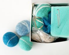 Felted Pebble Kit, Wool Felting Rocks Stone DIY Tutorial learn to New Hobby Crafting Craft Make your own Handmade Wet Beach Turquoise Blue. $19.00, via Etsy.